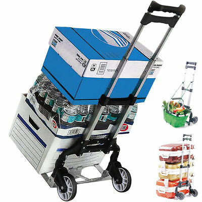 Cart Folding Dolly Push Truck Hand Collapsible Trolley Luggage Aluminium 170lbs