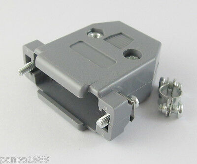1 set Grey D-Sub DB15 15Pin Plastic Hood Cover for 15Pin 2Row D-Sub Connector