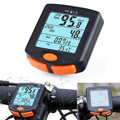 Wireless LCD Digital MTB Bicycle Bike Computer Backlight Speedometer Odometer