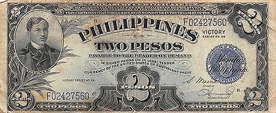 Philippines 2 Pesos ND.1944 P 95a Victory Series WW II issue Circulated Banknote