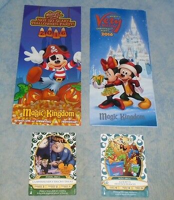 Disney MAGIC KINGDOM 2016 HOLIDAY Halloween and Christmas Sorcerer Cards Maps