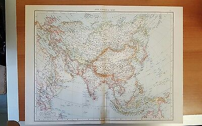 Antique 1895 Map Print of ASIA General Genuine Times World Atlas