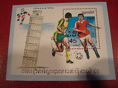 Cambodia - 1990 Italy World Cup - Minisheet - Unmounted Used - Ex. Condition