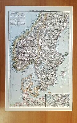 Antique 1895 Print MAP of SOUTHERN SCANDINAVIA Genuine Times World Atlas