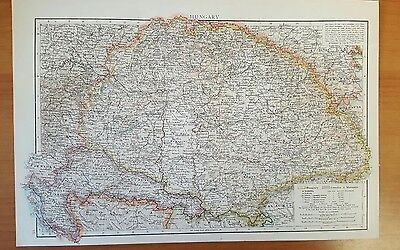 Antique 1895 Print MAP of HUNGARY  Genuine Times World Atlas