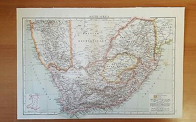 Antique 1895 Print MAP of SOUTH AFRICA from The Times World Atlas