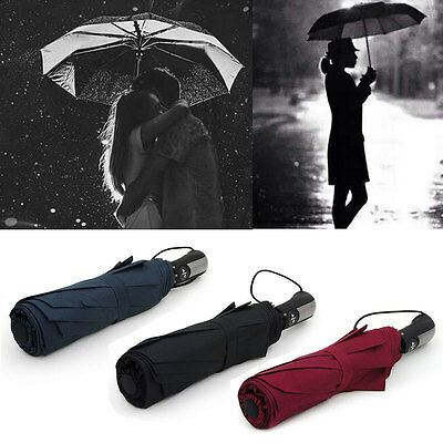 GARMAR Automatic Folding Umbrella Compact Windproof With 10 Fiberglass Frames AU