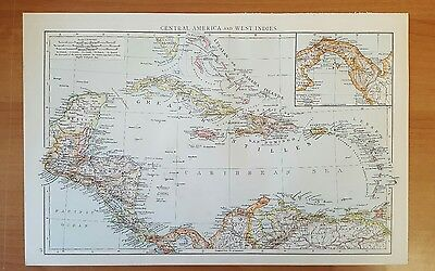 Antique 1895 Print MAP of CENTRAL AMERICA WEST INDIES from The Times World Atlas