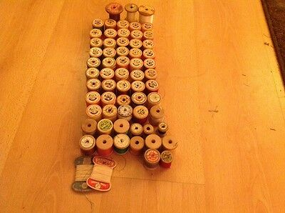 Sylko Sewing Threads On Wooden Reels Old Collectable Vintage