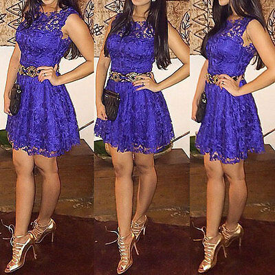 Women Summer Sleeveless Lace Casual Evening Party Cocktail Short Mini Dress USA