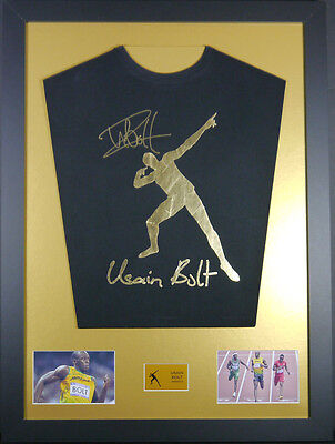 Usain Bolt signed Shirt framed display with coa