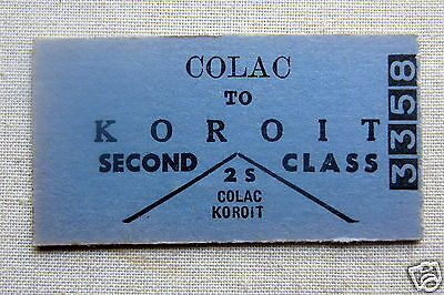 VR  Colac to Koroit  - Second Class Single