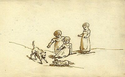 Circle of John Varley, Children Playing with Dogs Early 19th-century ink drawing