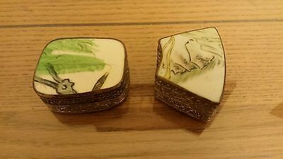 2 Chinese White Metal Trinket/Pill Boxes with Enamelled? Lids