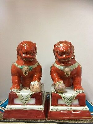 "Antique Feng Shui Chinese Porcelain 8.5"" Guardian Foo Fu Dogs Signed & Numbered"