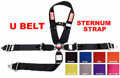 "Sternum Strap U 3"" Racing Harness Sfi 16.1 Cam Lock Belt Black Or Any Color"