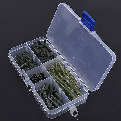 120pcs Carp Fishing Anti-Tangle Sleeve KitTackle Safety Lead Clips Quick Swivel
