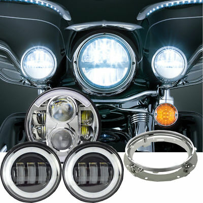 7 Inch Chrome Motorcycle Daymaker Headlights Harley Davidson Ultra Classic