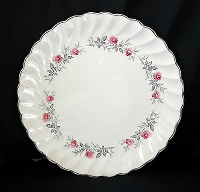Myott Plate  White With Gold Trim And Baby Pink Roses. Size 23 cm.