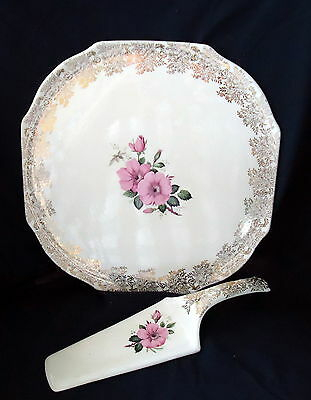 Lord Nelson Ware Cake Plate & Splade White With Gold Trim & Pink Flowers.