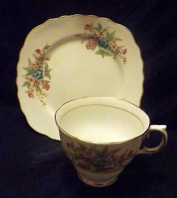 Colclough Sideplate & Cup White With Gold Trim With Floral Design.