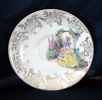 Falcon Ware Saucer With Yellow Crinoline Lady
