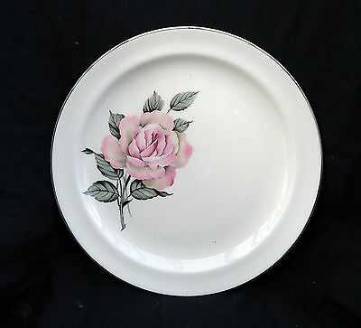 Staffordshire British Anchor White Plate With A Pink Rose. Size  cm.