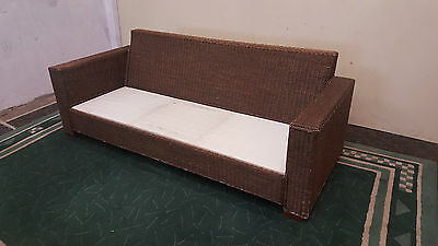 Three Seat Outdoor Sofa Large Wicker Lounge Sofa Without Cushions