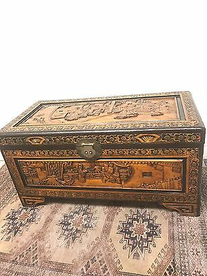 Antiques Style Oriental Wooden Carved Trunk
