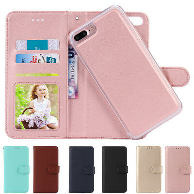 Flip Leather Magnetic Back Removable Wallet Case Cover for Apple iPhone 7/6 Plus