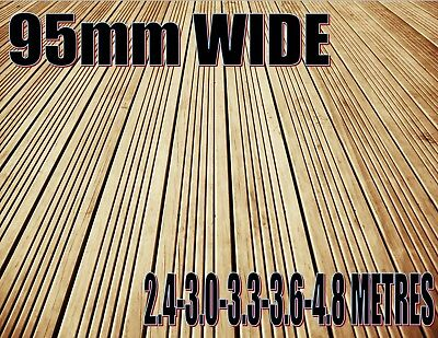 10 TIMBER DECKING BOARDS FULLY TREATED 100mm WIDE * FREE SCREWS PER METRE *