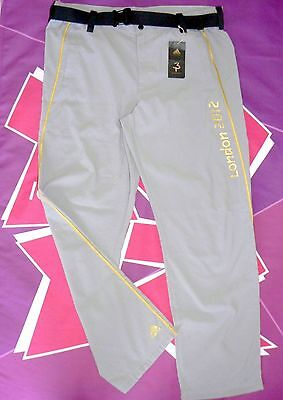London 2012 OLYMPIC TORCH RELAY SUPPORT CREW adidas Trousers + Belt LARGE BNWT