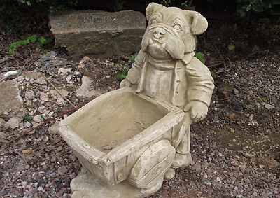 Cotswold Stone Large Bulldog with Barrow Garden Planter Pot Ornament