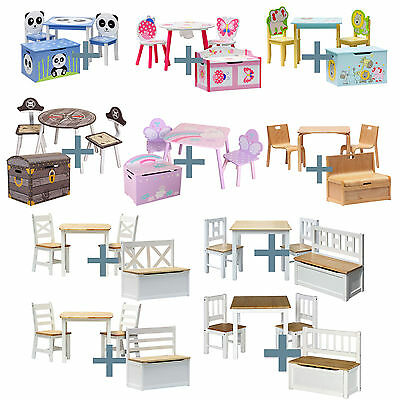 Kids Table and chairs with chestbench Wooden Set furniture for Todlers Children