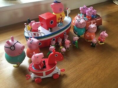 Peppa Pig Toy Bundle, Figures, Boat And Car With Mummy, Daddy And George