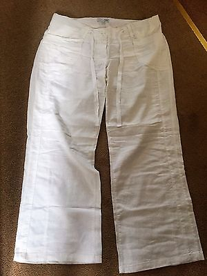 Next White linen mix maternity cropped trousers - Size 12