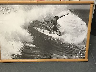 Surf poster KALANI ROBB framed in bamboo. 1990, s TERRIGAL