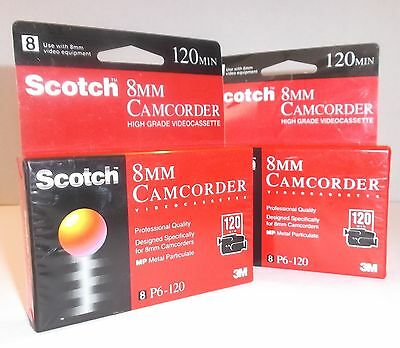 2 Scotch 8MM Camcorder Video Cassettes NEW & SEALED 120 Minutes P6-120 Pro Grade
