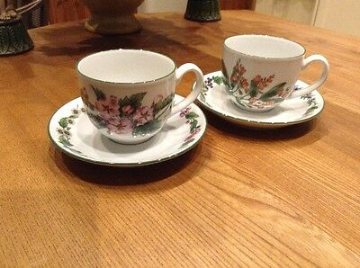 Royal Worcester Herbs Cups And Saucers