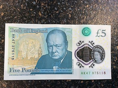 New Polymer design £5 note with AK47 serial number