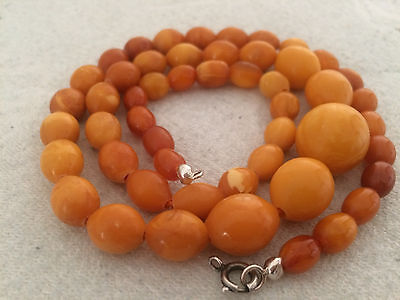 ANTIQUE AMBER NECKLACE - Beautiful Old Natural Baltic Amber Beads 老琥珀 25.5g