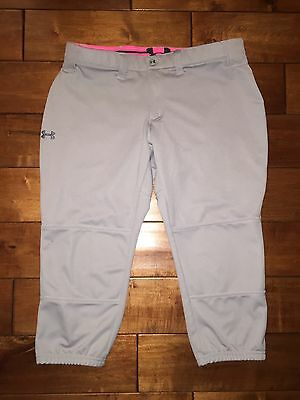 NWT Under Armour Women's Softball Pants Gray And Pink Sz Large Heat Gear Sports