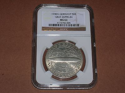 UNCIRCULATED 1930A Germany Silver 5 Mark Graf Zeppelin NGC MS62