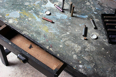 Antique Fantastic French Early 20thC Painted Pine Artist's Studio Table c.1910