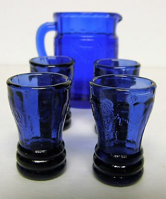 "Mosser Child's Juice Set (pitcher, 4 tumblers) - Cobalt - ""Jennifer"" pattern"