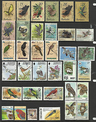 Bird stamps - 35 on stockcard - used & mint - Bahamas,Barbados & Others