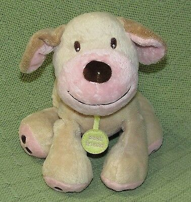 "Koala Baby Plush Rattle PUPPY DOG Best Friend Tan Pink Yellow Tag 8"" Stuffed Toy"