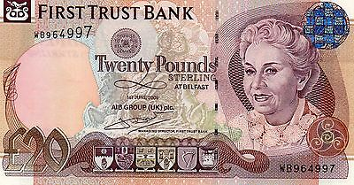 """FIRST TRUST £20 NOTE  01/06/09   PREFIX NUMBER   WB964997 """"McDADE"""" UNC"""