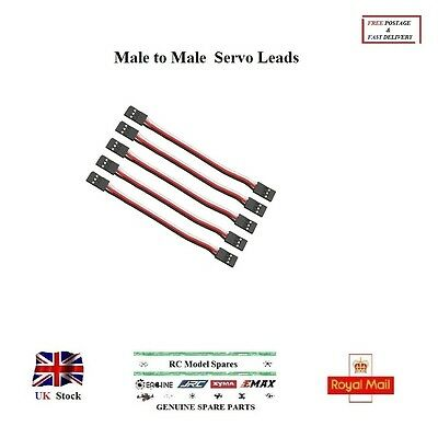5Pcs 100 mm Servo Extension Leads MALE to MALE Cables Wires Futaba JR Connectors