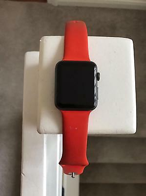 Apple Watch Series 1 42mm Space Grey Aluminium Case Red Sport Band.